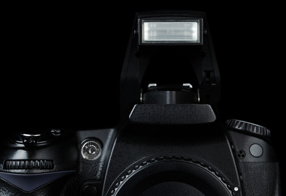 Professional modern DSLR camera with open flash