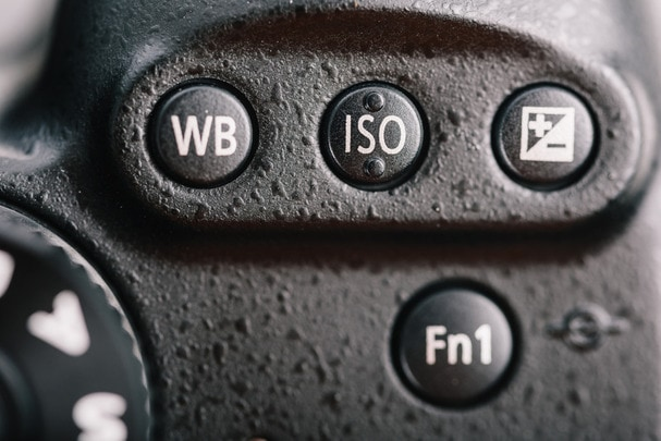 White Balance, ISO And Exposure Buttons On DSLR Camera