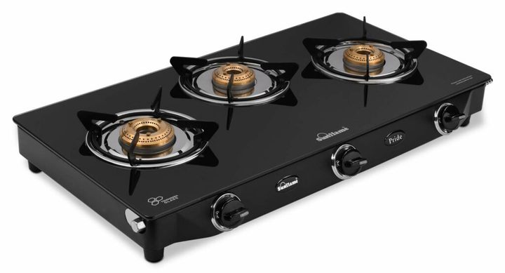 SUNFLAME GT Pride Glass Top 3 Brass Burner Gas Stove