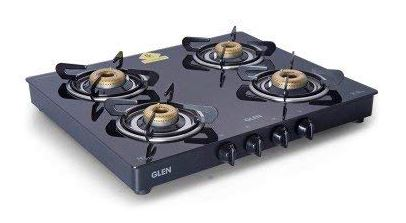 GLEN 1041 GT Glass 4 Forged Brass Burner Gas Stove